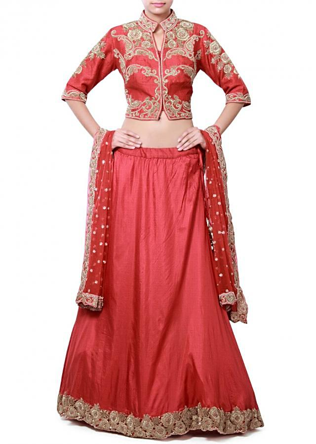 Red silk lehenga adorn in zardosi only on Kalki