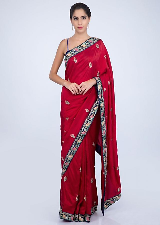 Red silk saree with butti and heavy embroidered border only on kalki