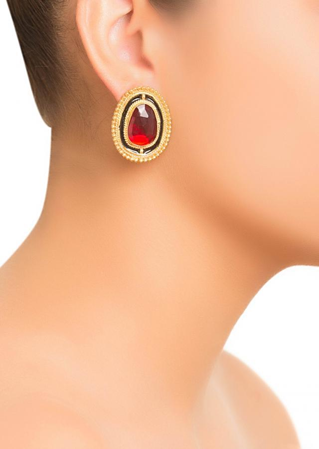 Red Stone Stud Earrings