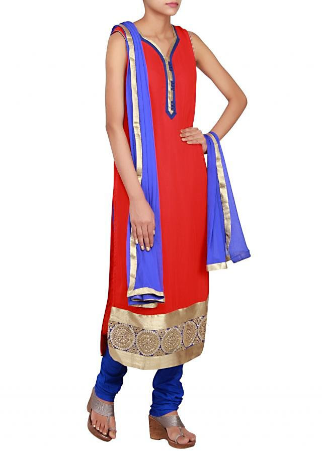 Red straight cut suit in georgette embellished in zari only on Kalki