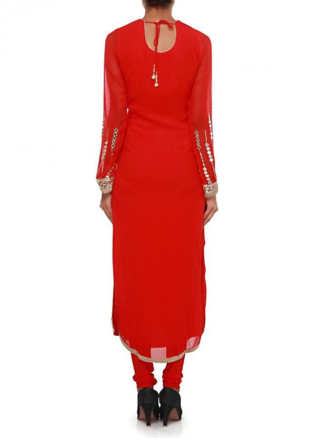 Red straight suit adorn in mirror and sequin embroidery only on Kalki