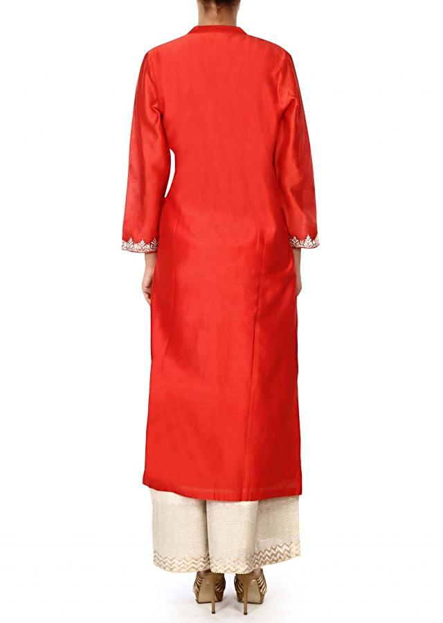 Red straight suit with zari placket only on Kalki