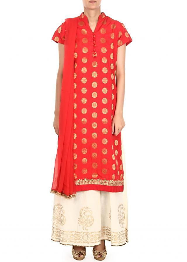 Red straight palazzo suit in gota lace only on Kalki