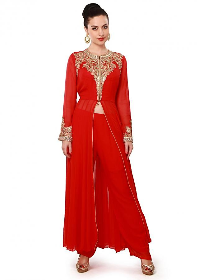 Red suit adorn in resham and kardana embroidery only on Kalki