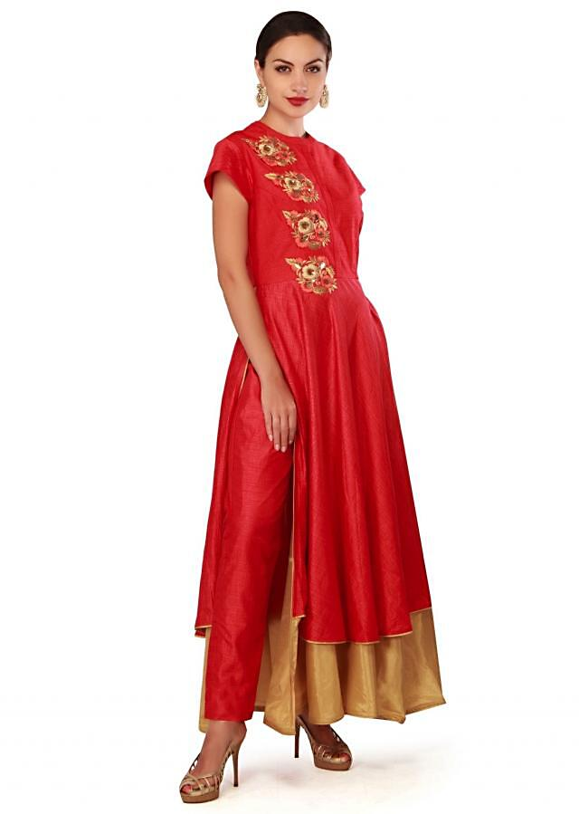 Red suit embellished in resham and kardana embroidery only on Kalki