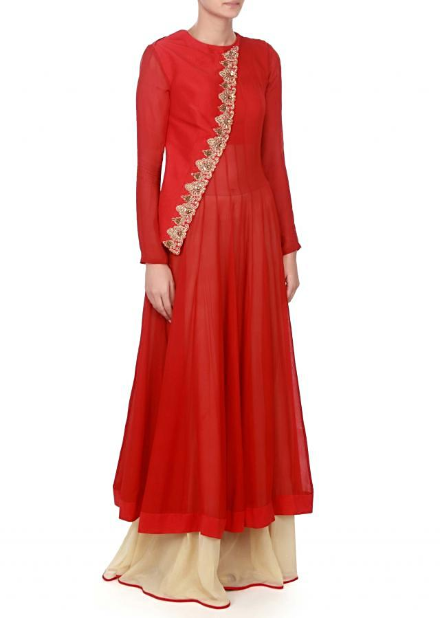 Red suit with half jacket adorn in zari and kundan only on Kalki