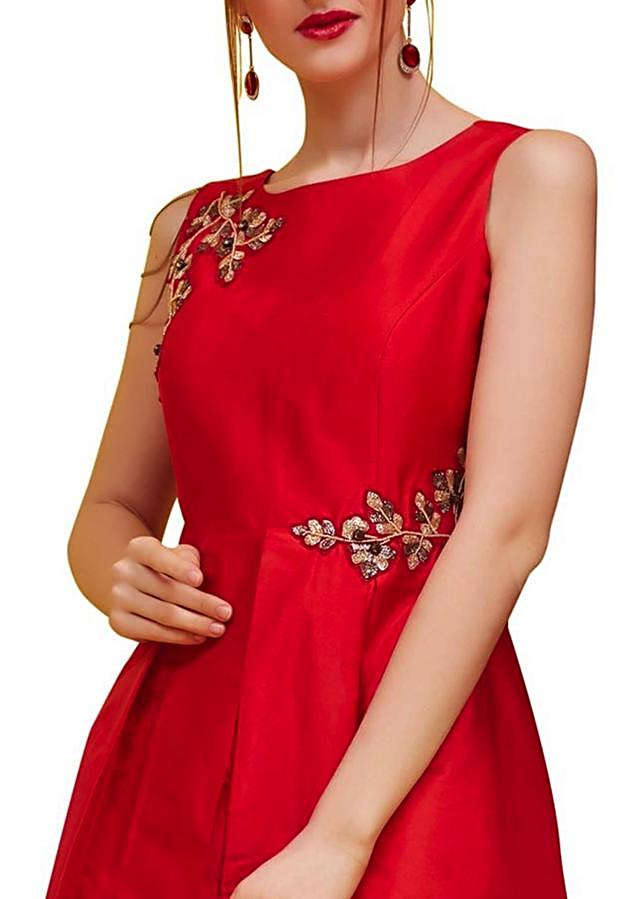 Red Taffeta Kurti With Cut Dana Embroidery Online - Kalki Fashion