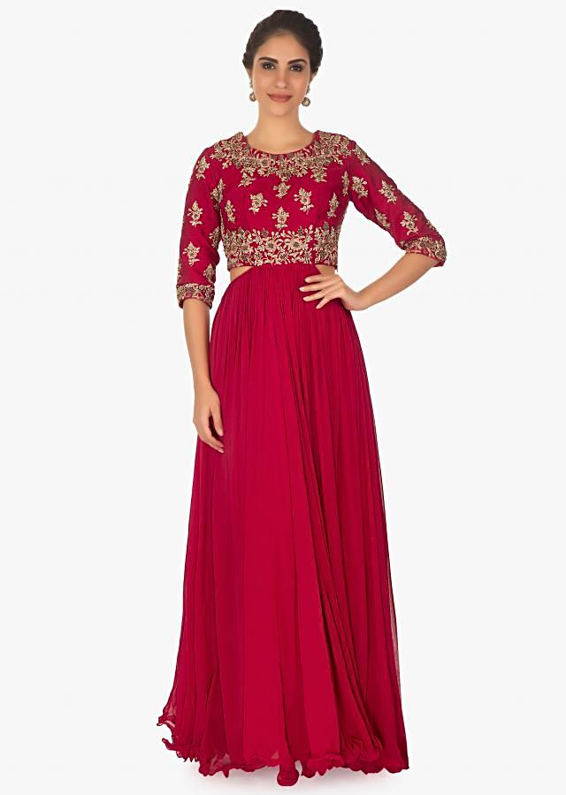 Red Tunic Dress With Embellished Bodice And Side Cut Outs Online - Kalki Fashion