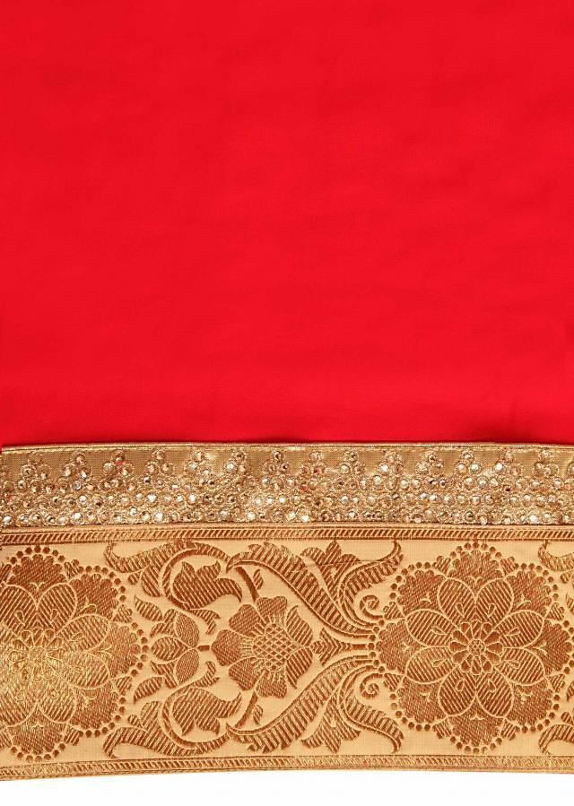 Red unstitched georgette salwar kameez in kundan and brocade border only on Kalki