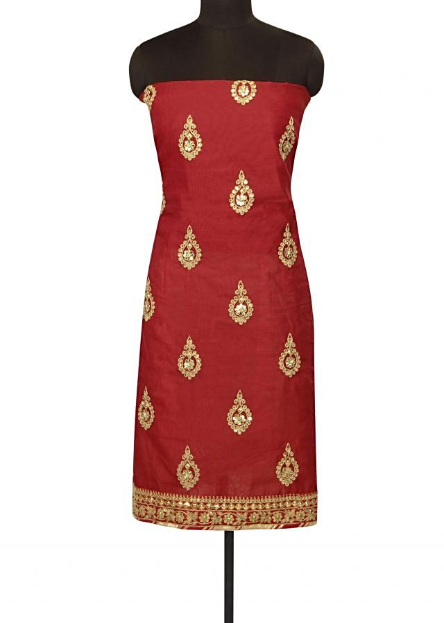 Red unstitched suit adorn in gotta patch emroidery butti only on Kalki