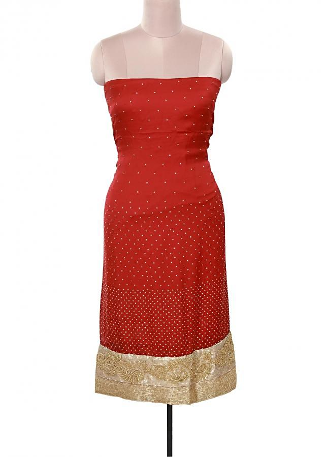 Red unstitched suit adorn in sequin embroidery only on Kalki