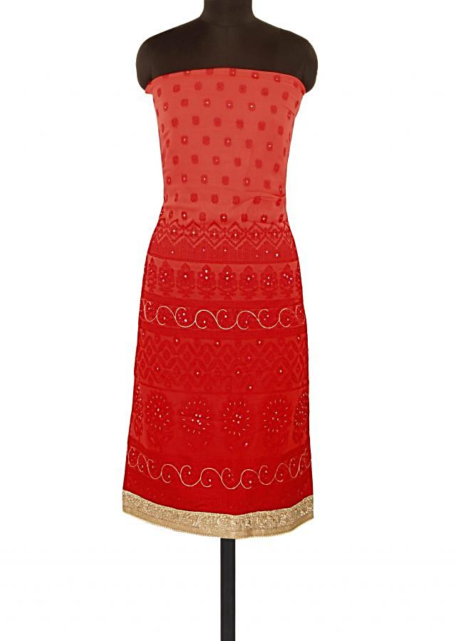 Red unstitched suit adorn in thread embroidery only on Kalki