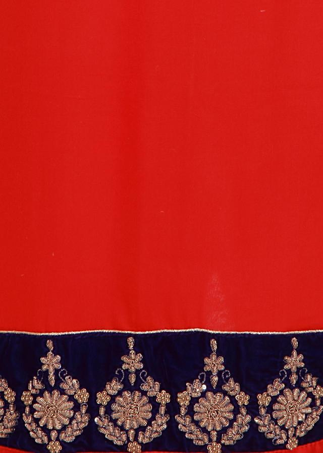 Red unstitched suit adorn in zardosi and sequin embroidery only on Kalki