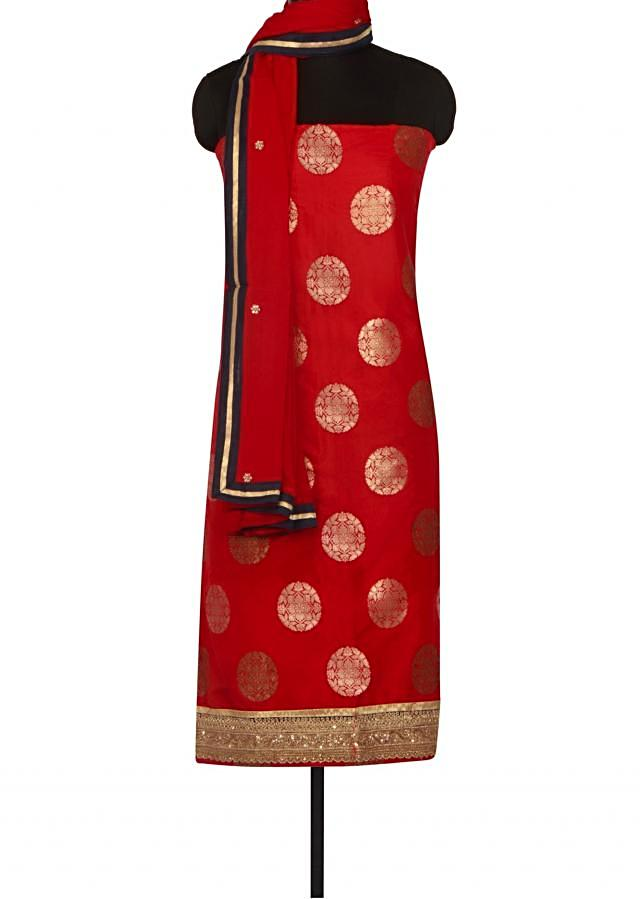 Red unstitched suit adorn in zari and kundan only on Kalki