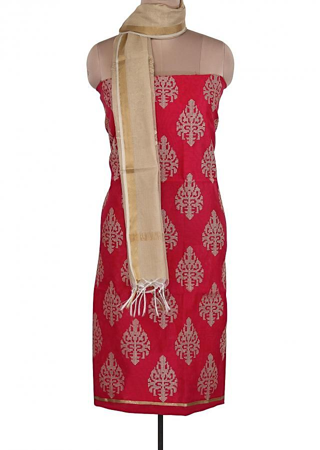 Red Unstitched Suit Embellished In Resham Embroidery Only On Kalki