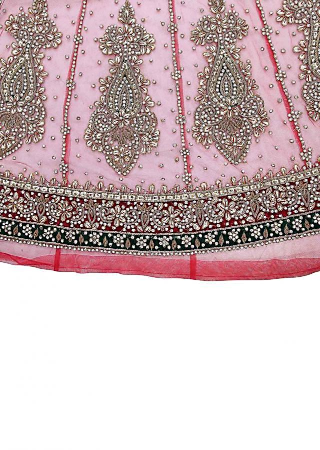 Red unstitched suit embellished in zardosi and stone only on Kalki