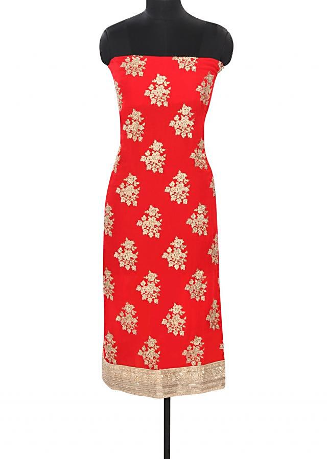 Red unstitched suit embellished in zari embroidery only on Kalki