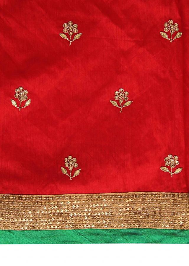 Red unstitched suit enhanced in kundan and zari embroidery only on Kalki