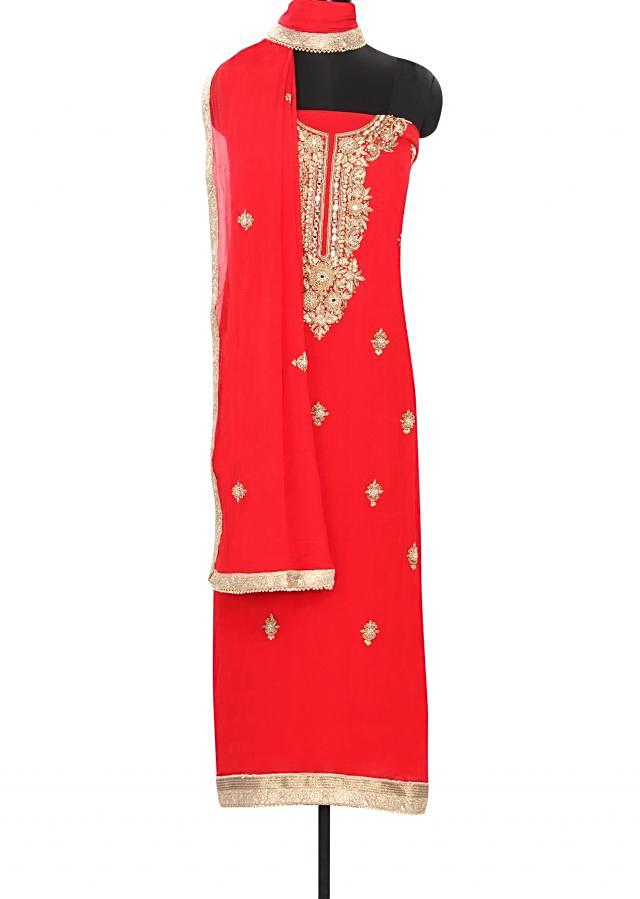 Red unstitched suit features with embellished neckline only on Kalki