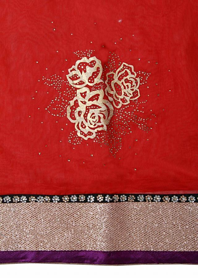 Red unstitched suit in applique work only on Kalki