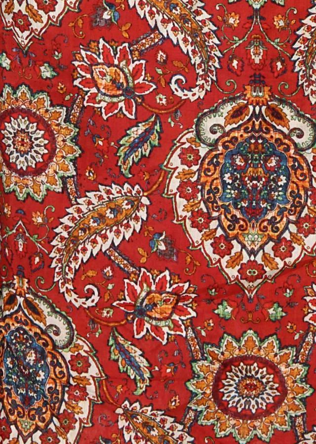 Red unstitched suit in floral and paisley print only on Kalki
