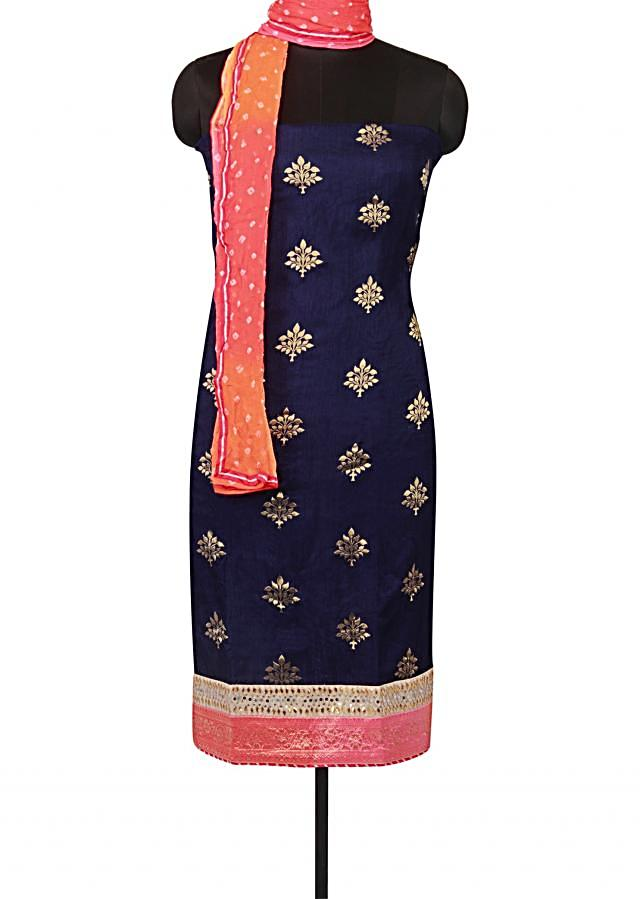 Navy blue unstitched suit with shaded bandhani dupatta only on Kalki