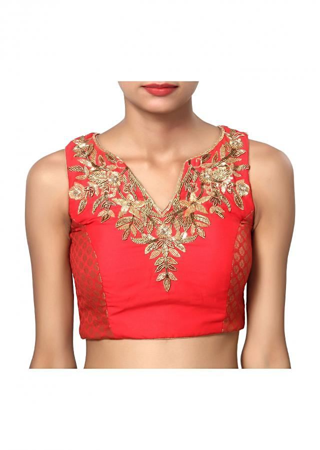 Red v neck sleeveless pretty blouse with gold embroidery work