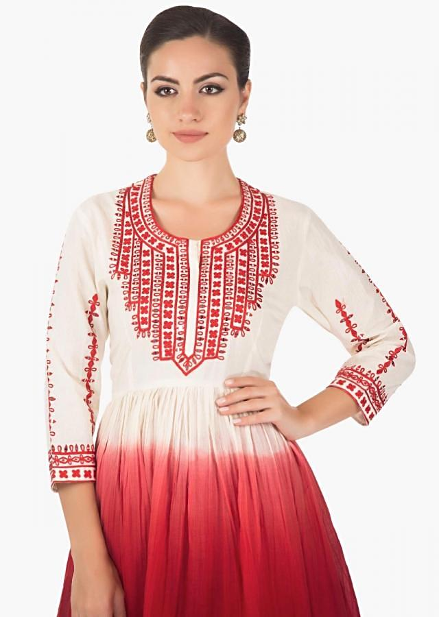 Red white Flared short cotton  kurti with a matching Red cotton  dhoti pants  only on kalki.