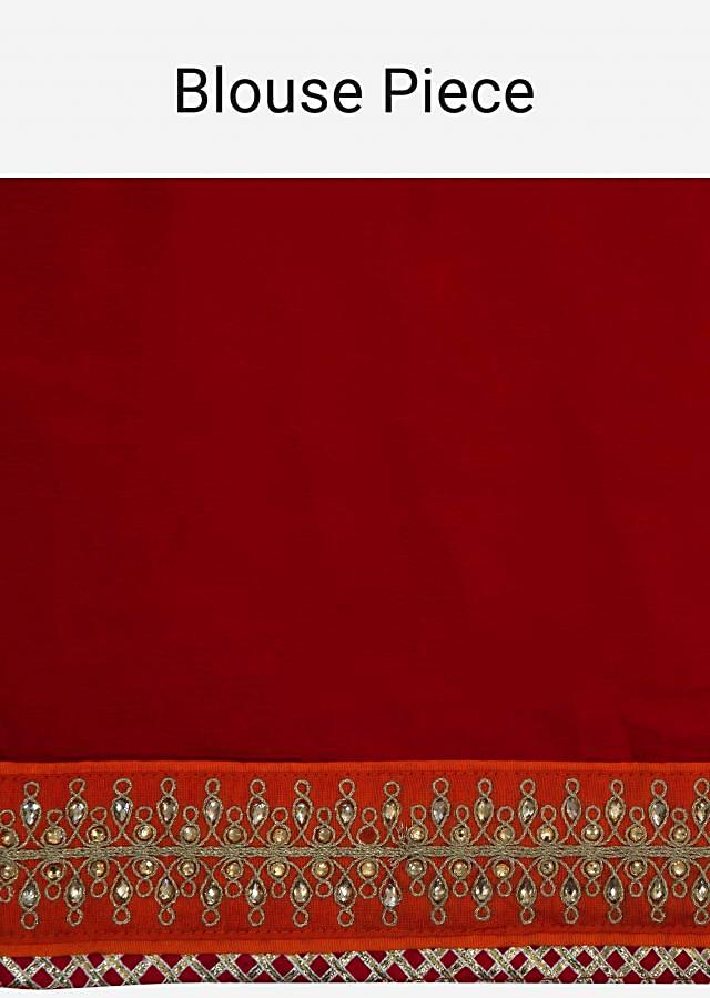 Red bandhani lehenga in georgette with zari and kundan embroidery only on Kalki