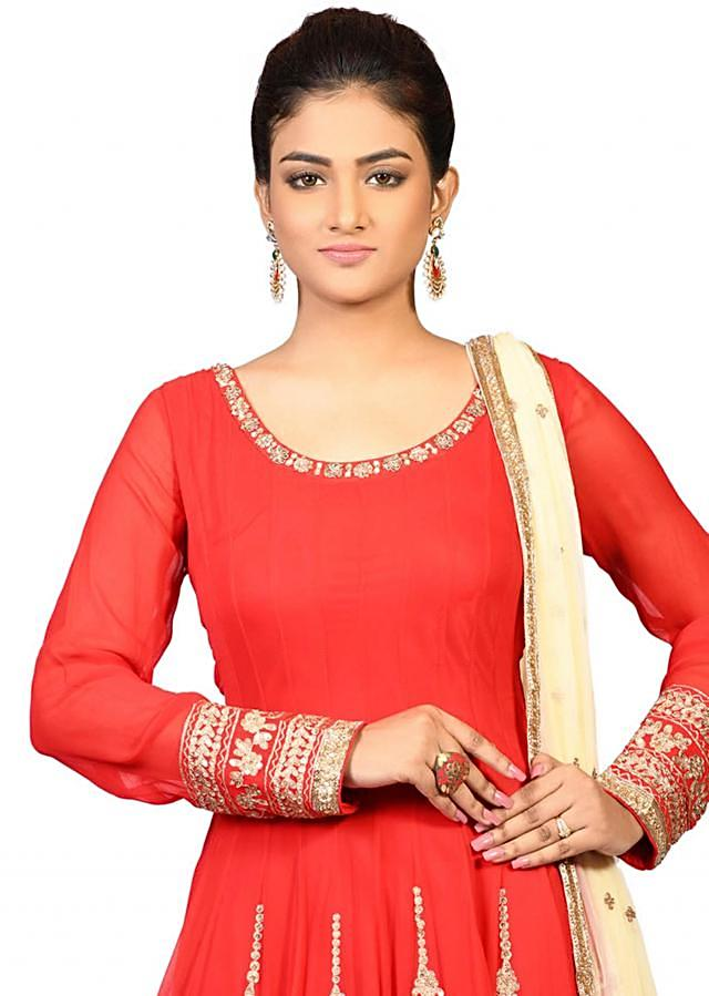 Red anarkali gown in georgette enhanced in beautiful aari work only on Kalki