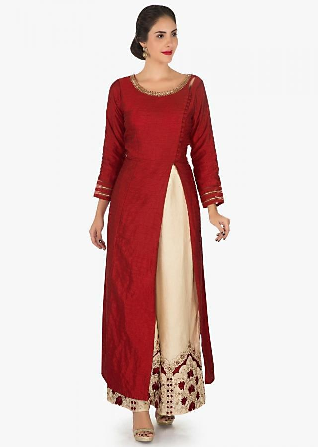 Red anarkali palazzo suit embellished in cut dana and resham embroidery work only on Kalki