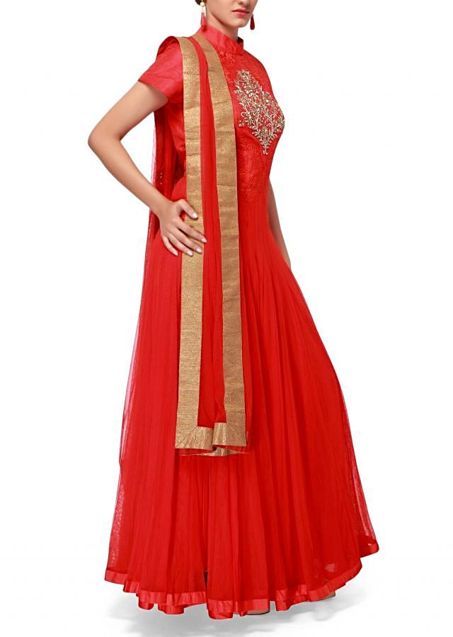 Red anarkali suit adorn in zardosi and resham embroidery only on Kalki