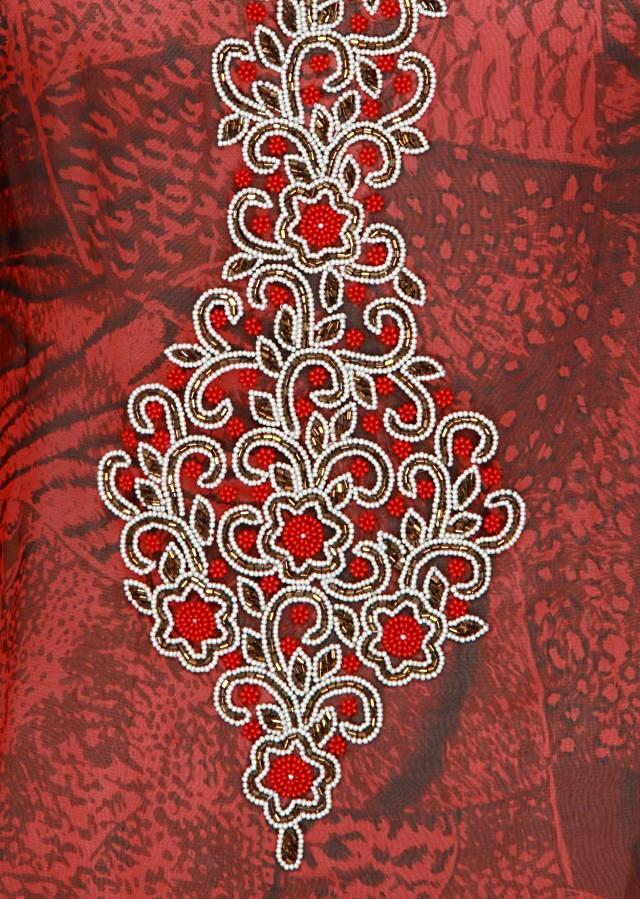 Red and black kaftan adorn in motti and kardana embroidery only on Kalki