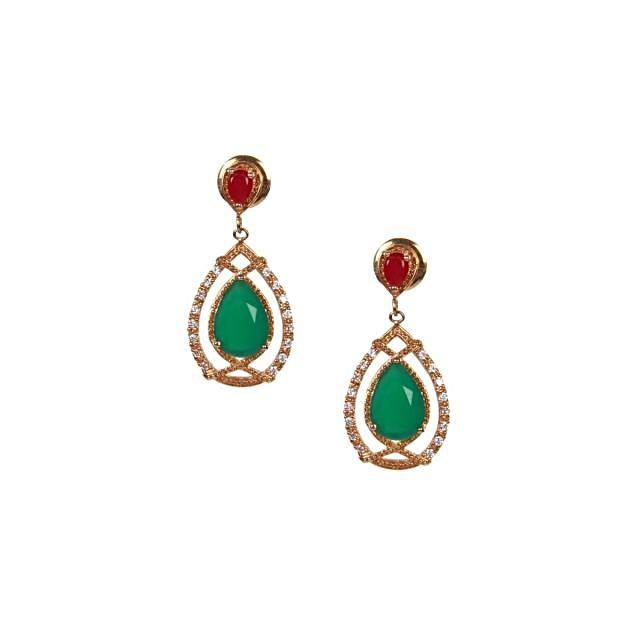 Red and green stones gold plated earrings only on kalki