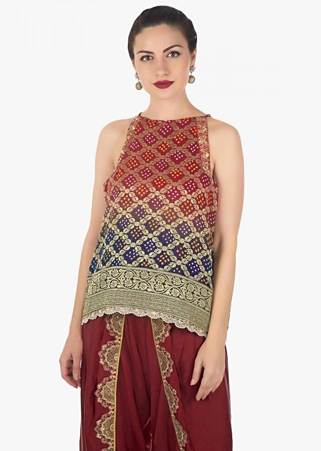 Red and navy blue georgette top with red dhoti pants only on Kalki