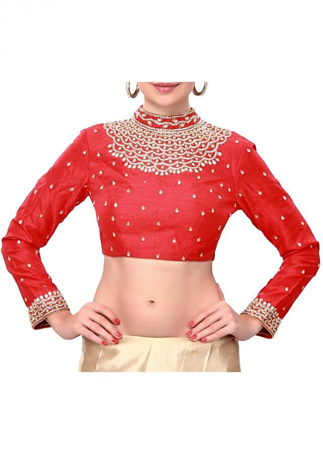 Red blouse features with embroidered neckline only on Kalki