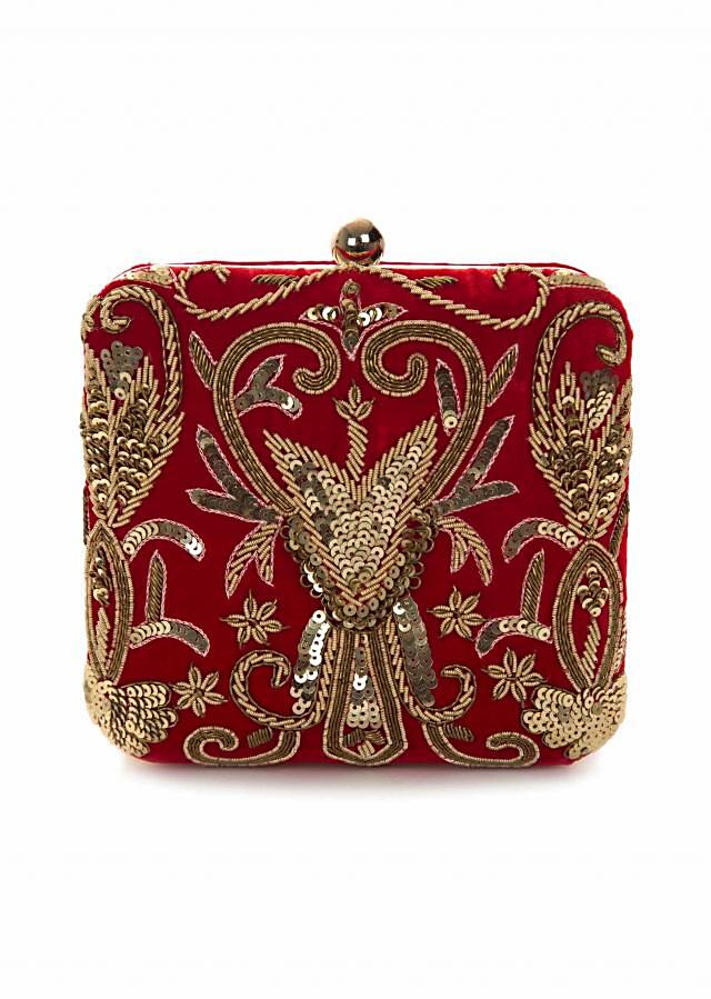 Red clutch embroidered in cutdana and sequin work only on Kalki