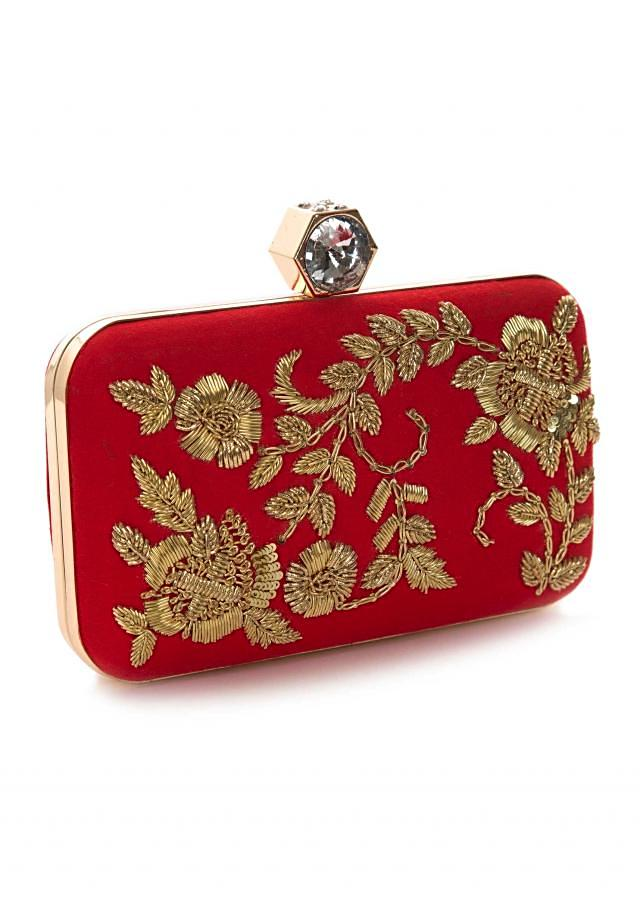 Red clutch enhanced in zardosi embroidery work only on Kalki