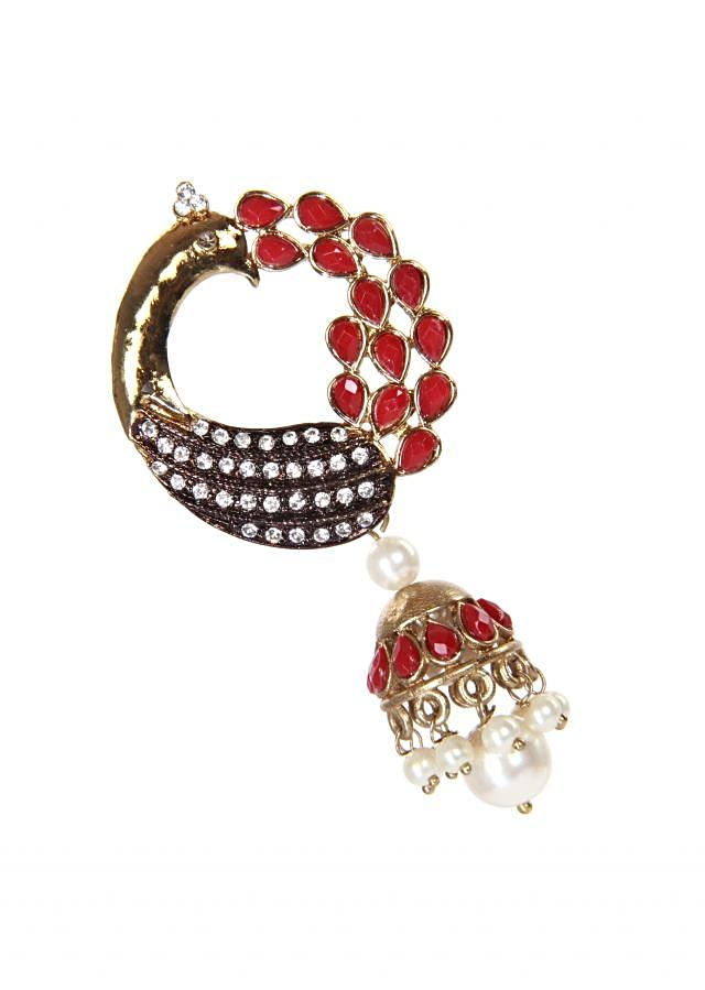 Red drop earring designed in peacock shaped motif only on kalki