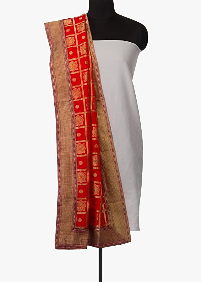 Red dupatta in brocade silk with zari weave and contrast border only on Kalki