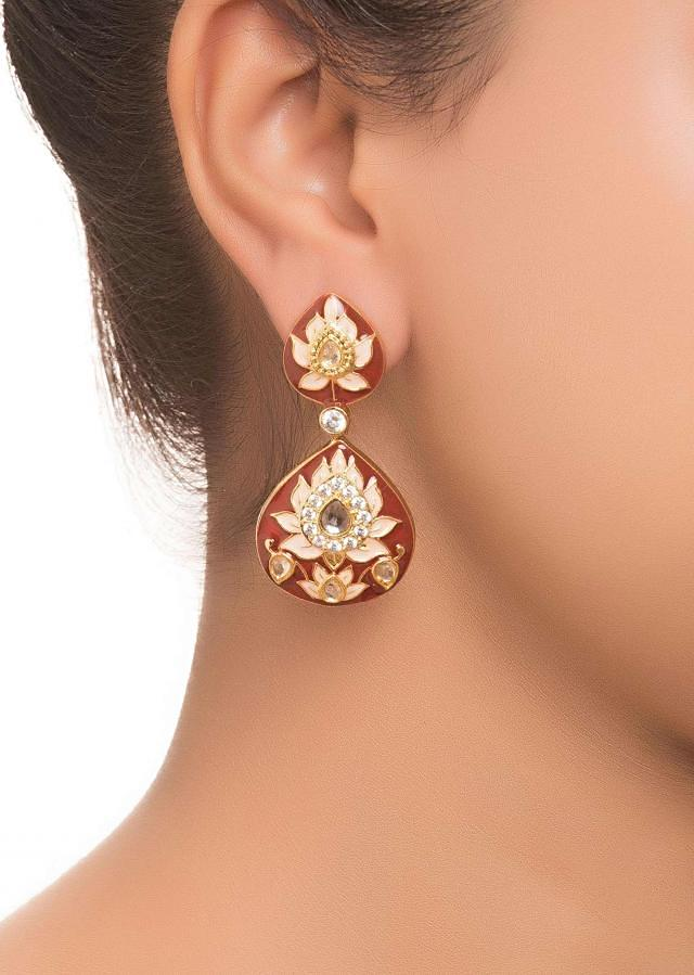 Red Enameled And Stone Work Earrings only on Kalki