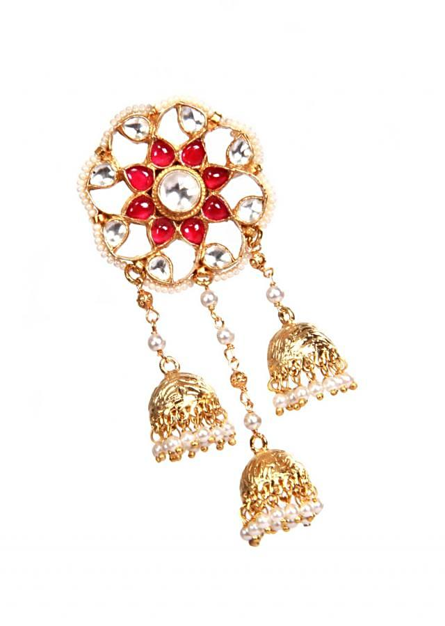 Red floral cascade piroi earring by Ra Abta for Kalki