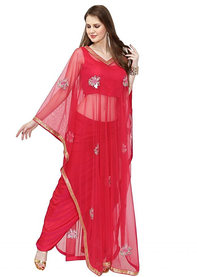 Red Georgette Top and Skirt Featuring Net Cape Adorned with Resham Work only on Kalki