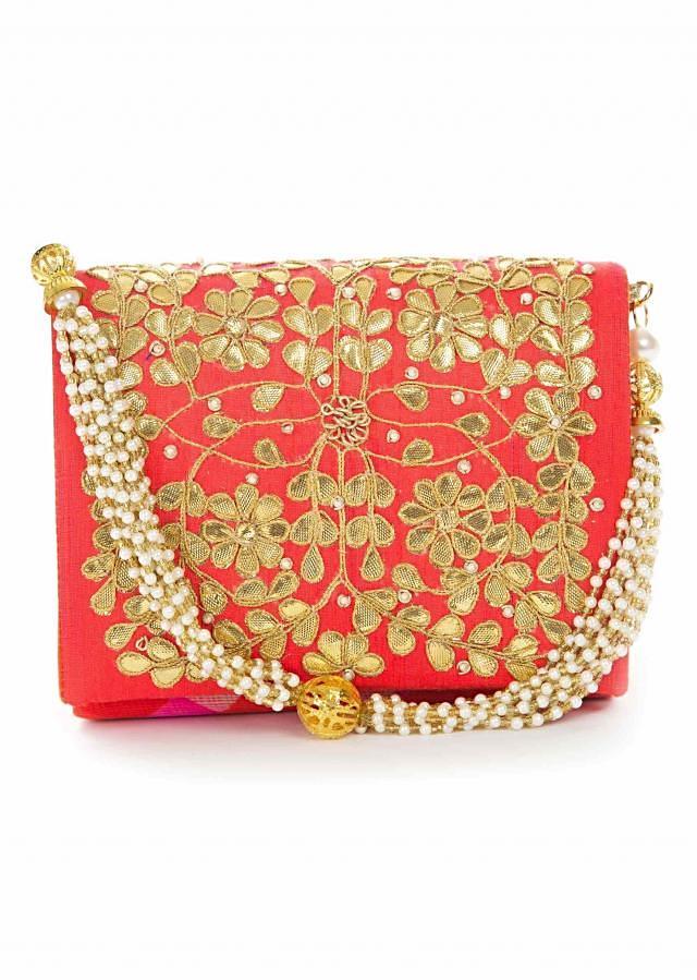Red gotta patti embroidered bag only on Kalki