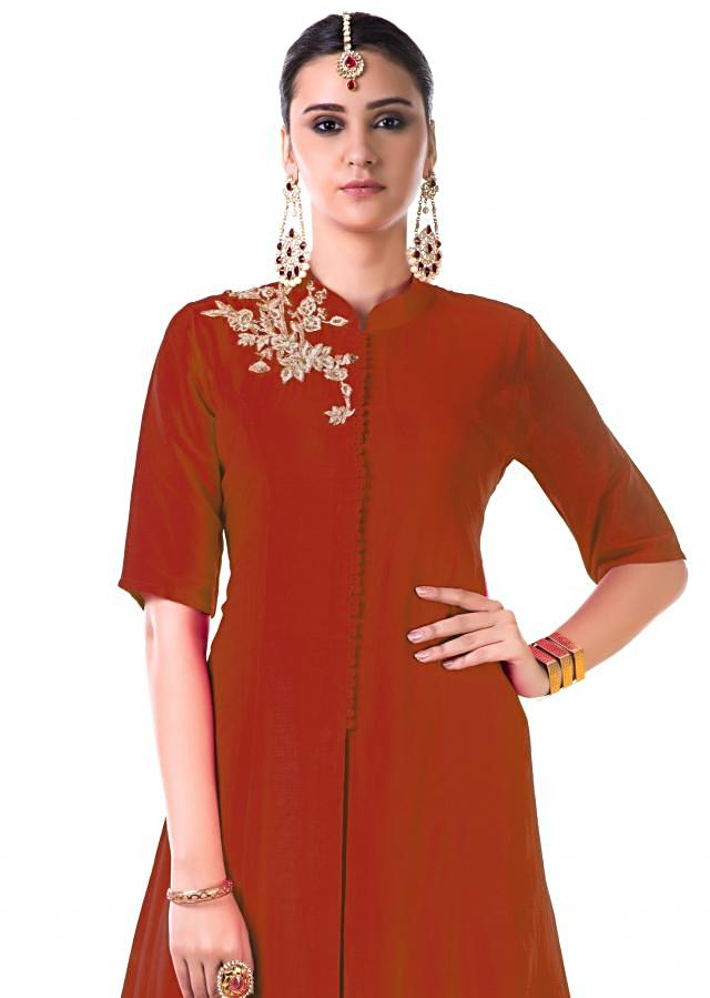 Red Hand Embroidered Jacket Style Anarkali Gown