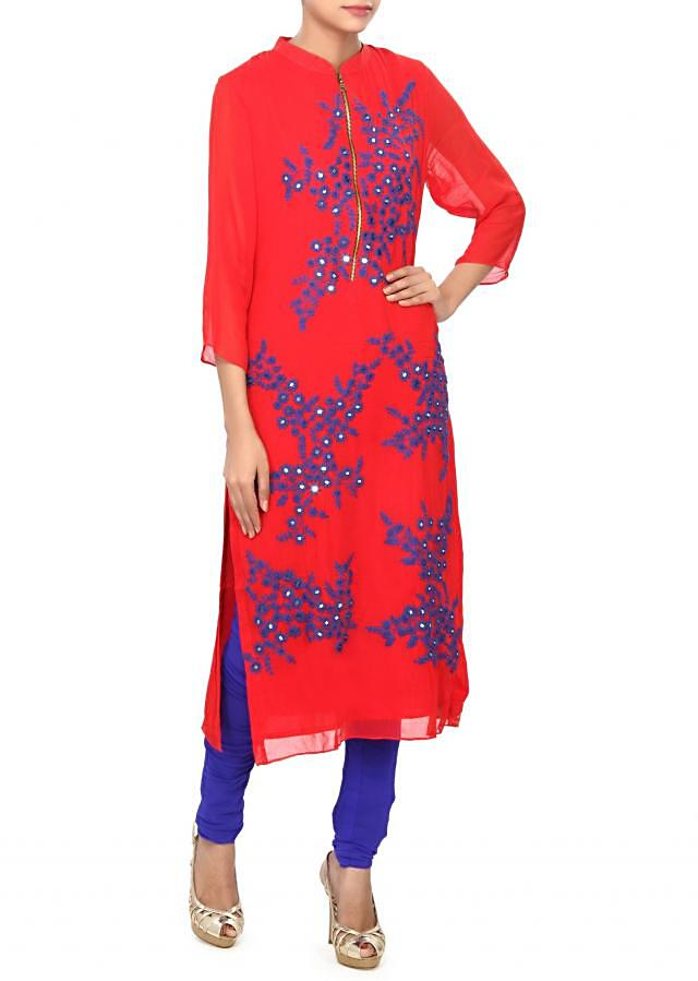 Red kurti embellished in thread and mirror embroidery only on Kalki