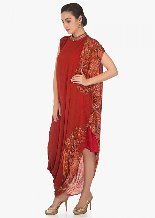 Red kurti featuring with printed drape only on Kalki
