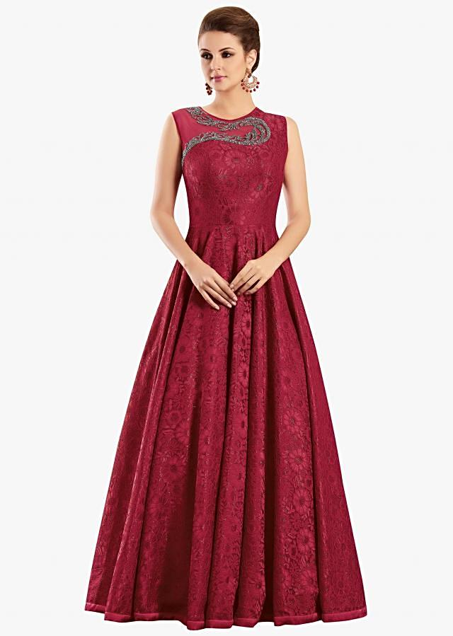 Red lace gown adorn in kundan and cut dana embellishments only on Kalki