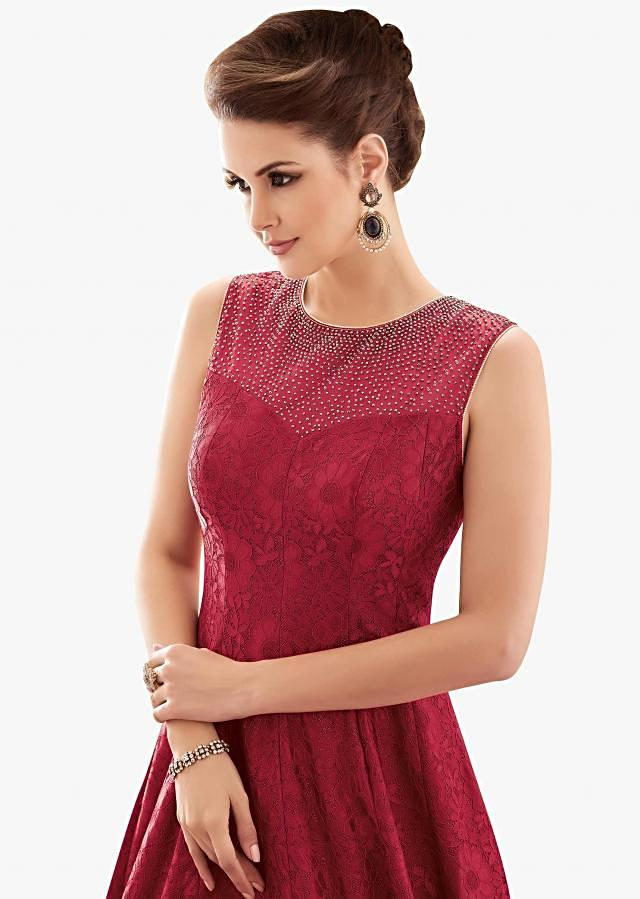 Red lace gown studded with heavy kundan embroidery work only on Kalki