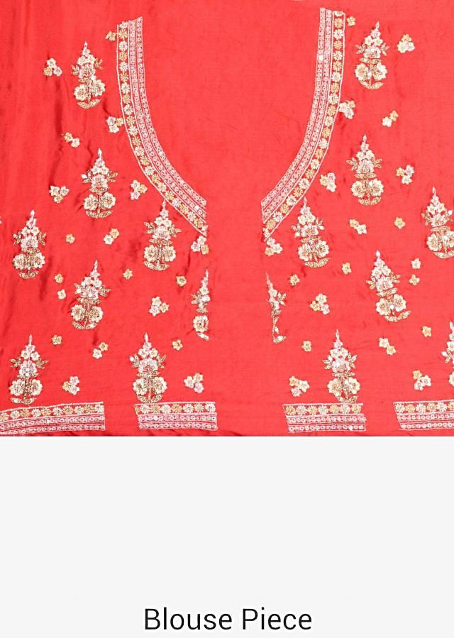 Red lehenga in chanderi silk with zari embroidery in silver and gold